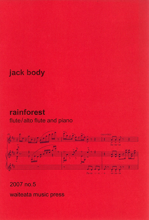 Jack Body: Rainforest (flute and piano) - hardcopy SCORE and PART