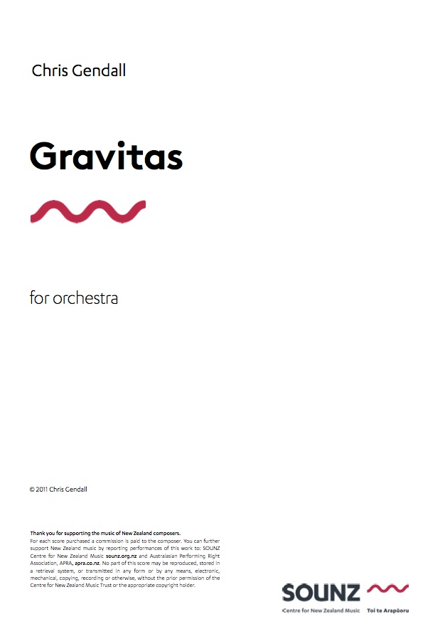 Chris Gendall: Gravitas - downloadable PDF SCORE