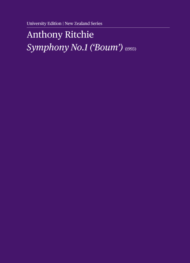 Anthony Ritchie - Symphony No. 1 ('Boum') - hardcopy SCORE