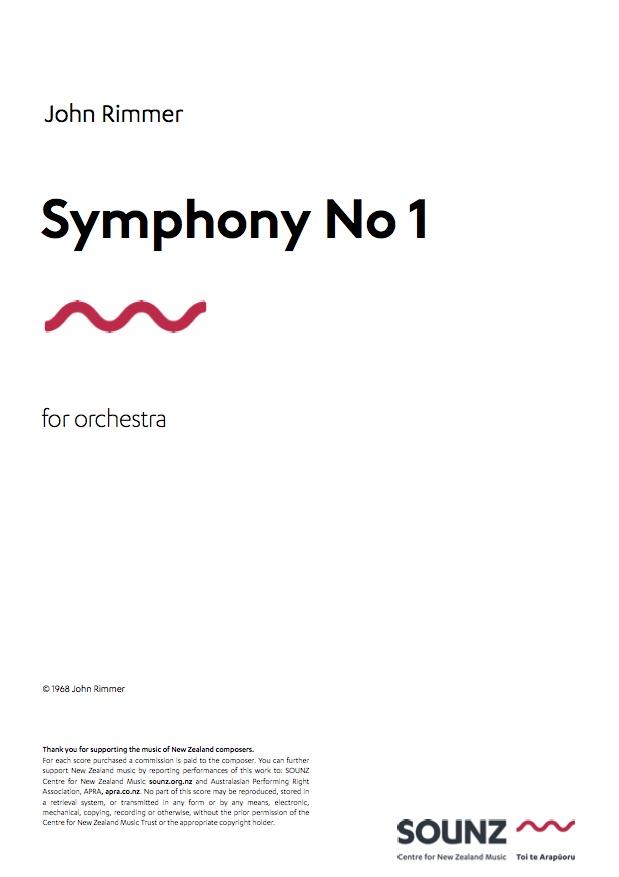 John Rimmer: Symphony No 1 - hardcopy SCORE