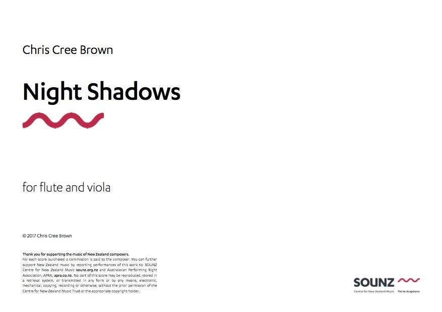 Chris Cree Brown: Night Shadows - downloadable PDF SCORE
