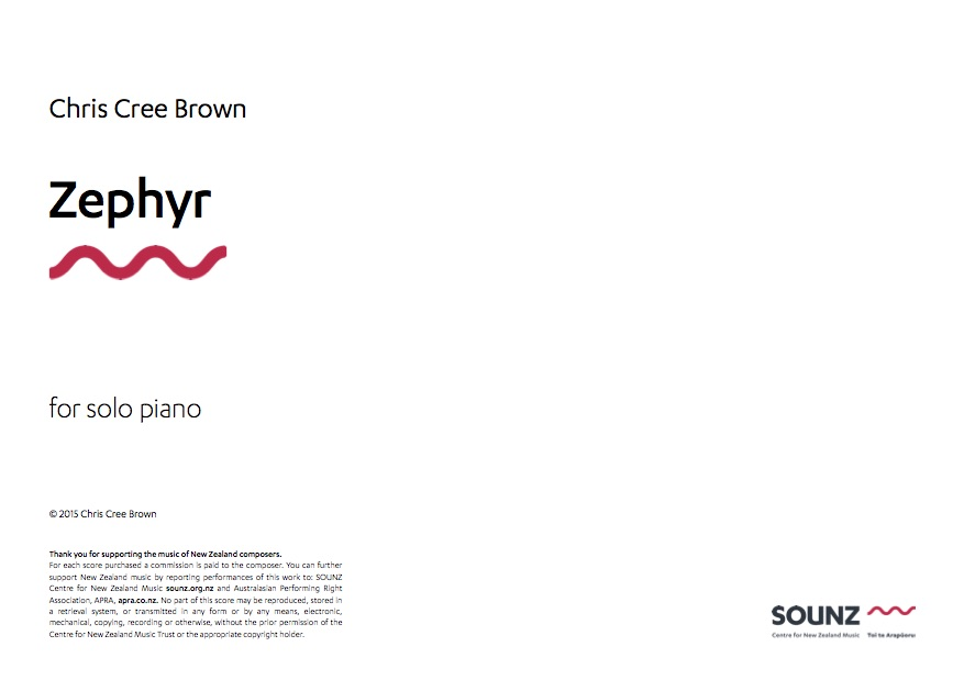 Chris Cree Brown: Zephyr - downloadable PDF SCORE