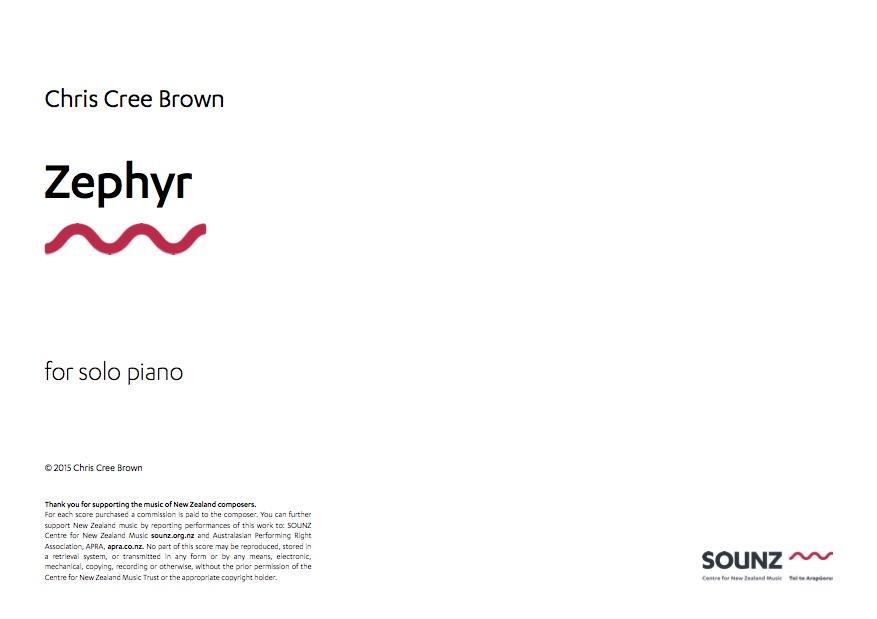 Chris Cree Brown: Zephyr - hardcopy SCORE