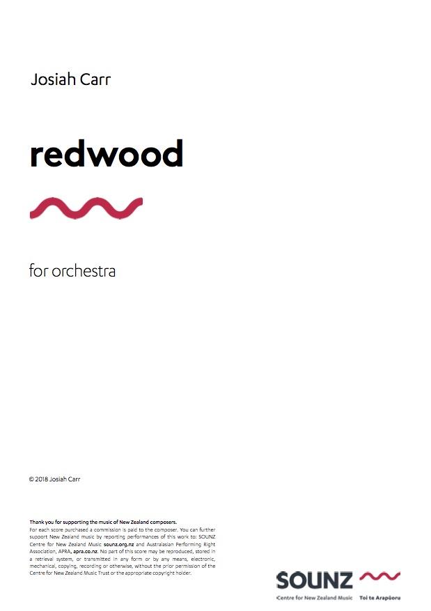 Josiah Carr: redwood - downloadable PDF SCORE