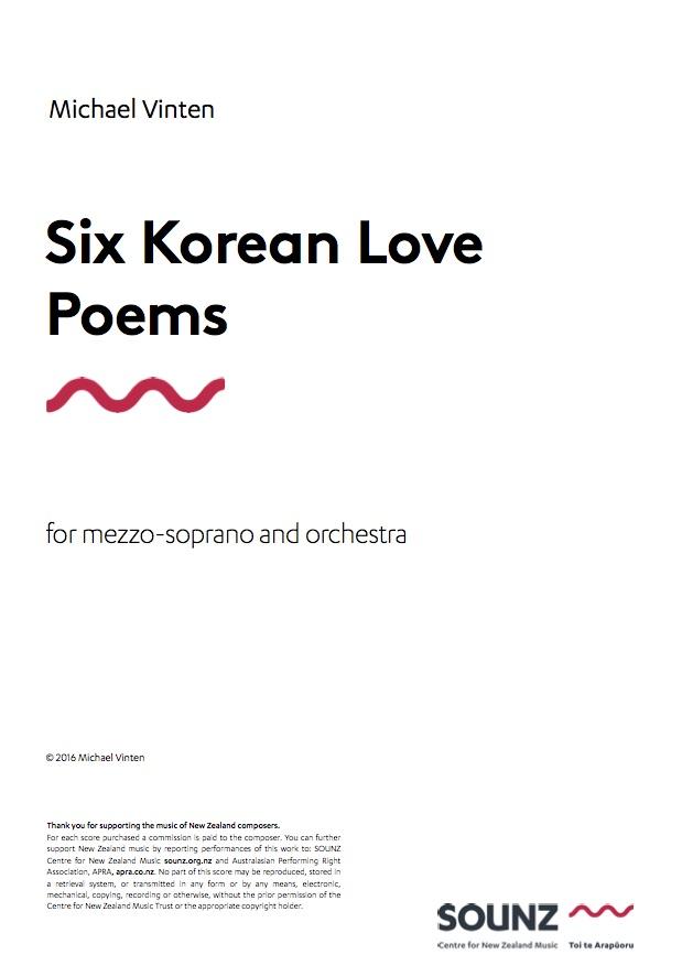 Michael Vinten: Six Korean Love Poems (orchestral version) - hardcopy SCORE