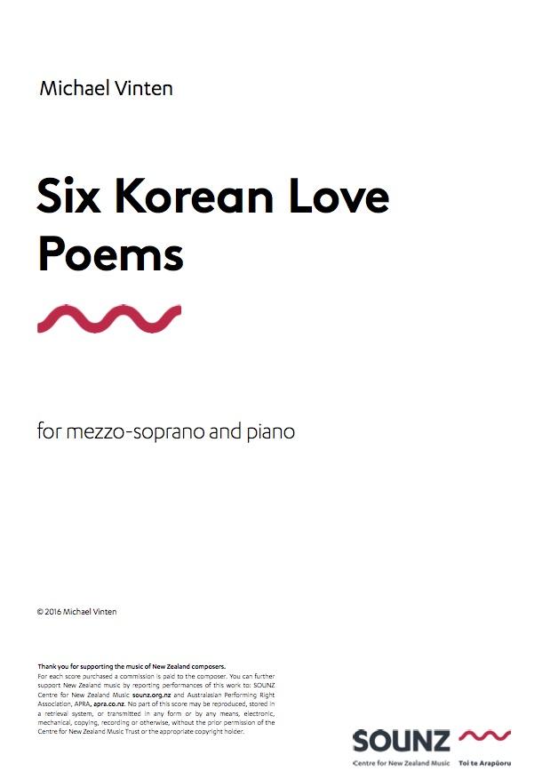 Michael Vinten: Six Korean Love Poems (piano version) - downloadable PDF SCORE