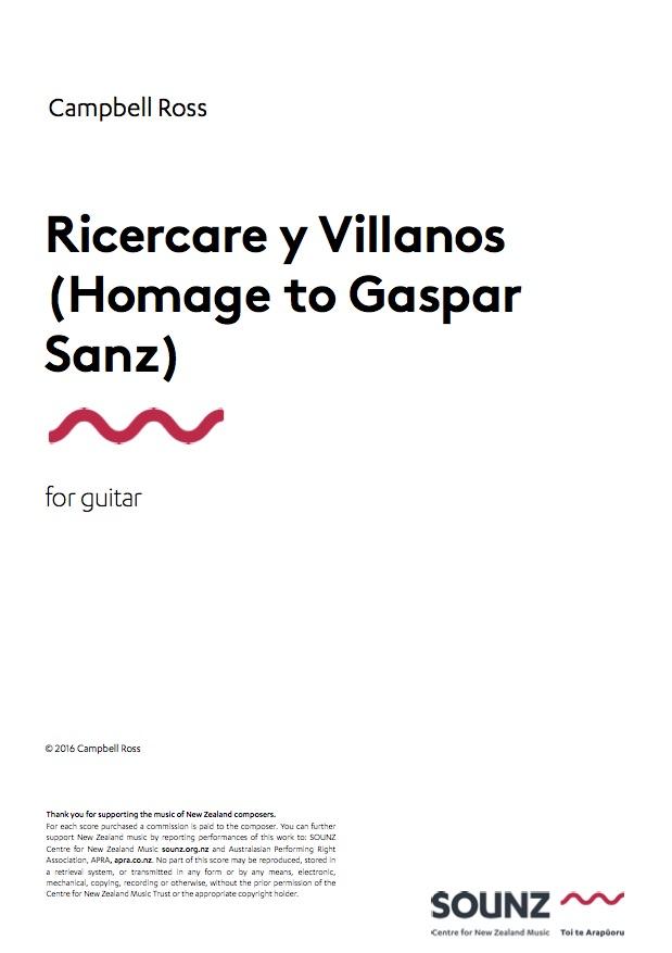 Campbell Ross: Ricercare y Villanos (Homage to Gaspar Sanz) - downloadable PDF SCORE