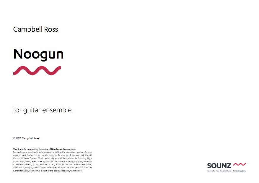 Campbell Ross: Noogun - hardcopy SCORE and PARTS