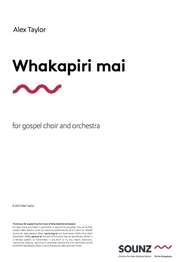Alex Taylor: Whakapiri mai - downloadable PDF SCORE