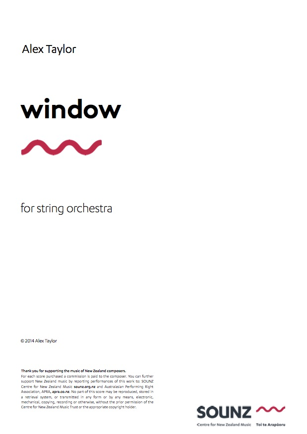 Alex Taylor: window - downloadable PDF SCORE