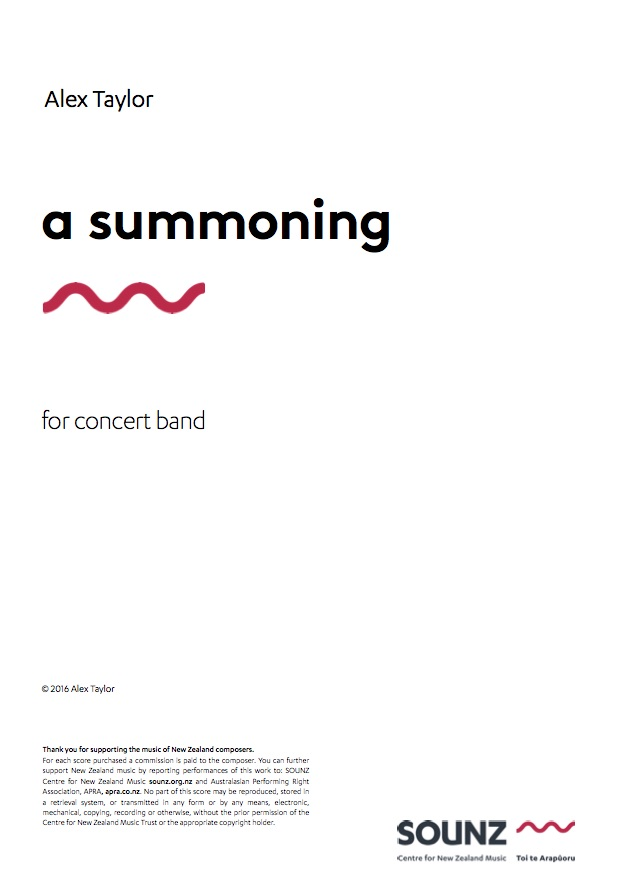 Alex Taylor: a summoning - downloadable PDF SCORE