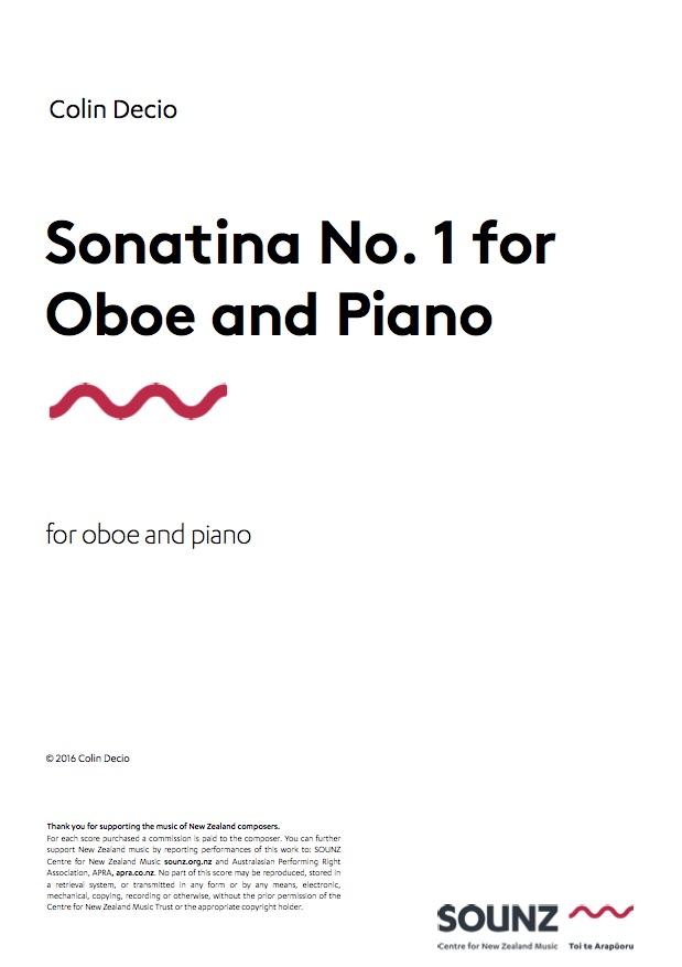 Colin Decio: Sonatina No. 1 for Oboe and Piano - hardcopy SCORE