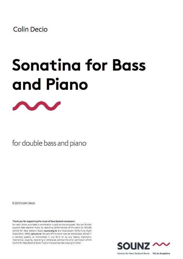 Colin Decio: Sonatina for Bass and Piano - hardcopy SCORE and PART