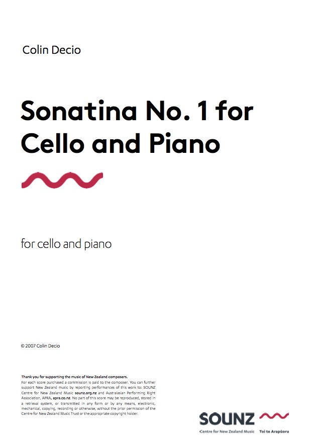 Colin Decio: Sonatina for Cello and Piano - hardcopy SCORE and PART