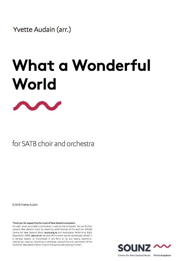 Yvette Audain (arr.): What a Wonderful World - downloadable PDF SCORE