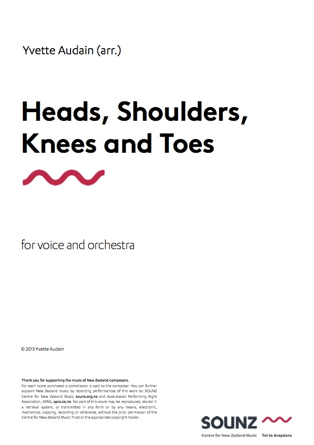 Yvette Audain: Heads, Shoulders, Knees and Toes - downloadable PDF SCORE