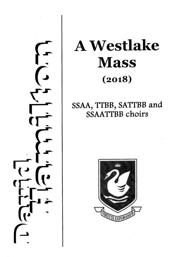David Hamilton: A Westlake Mass - hardcopy SCORE