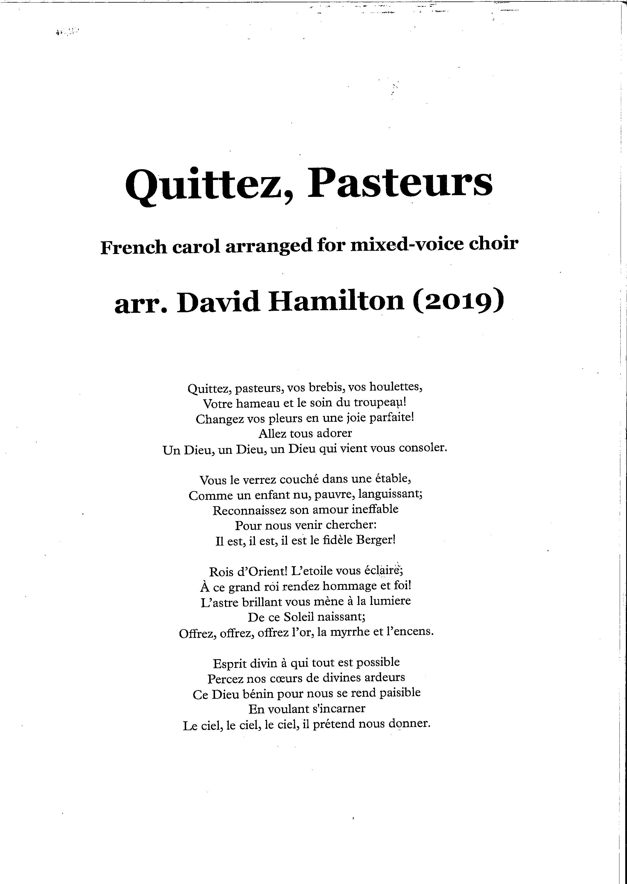 David Hamilton (arr.): Quittez, Pasteurs - hardcopy SCORE