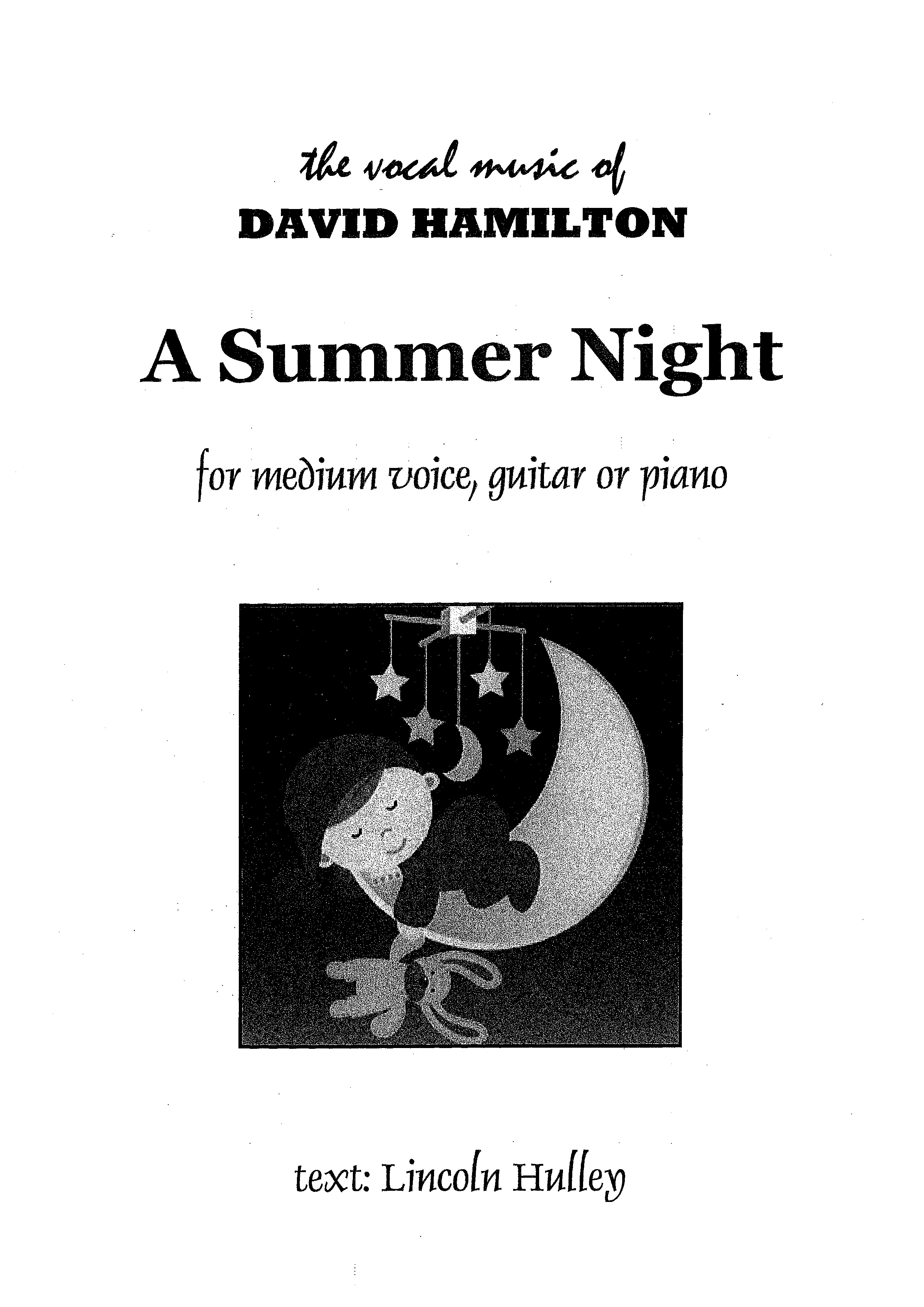 David Hamilton: A Summer Night - hardcopy SCORE and PART