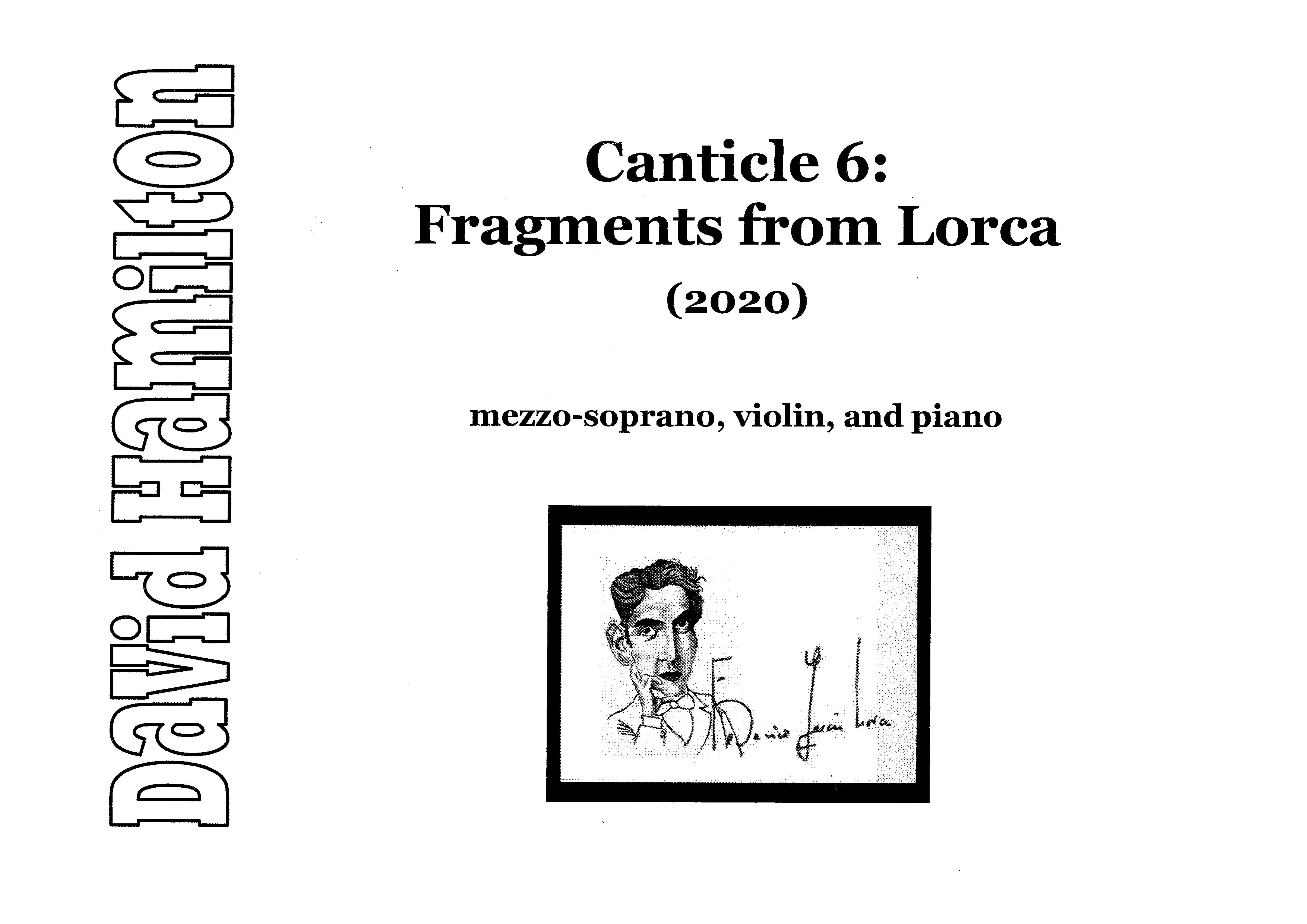 David Hamilton: Canticle 6: Fragments from Lorca — hardcopy SCORE