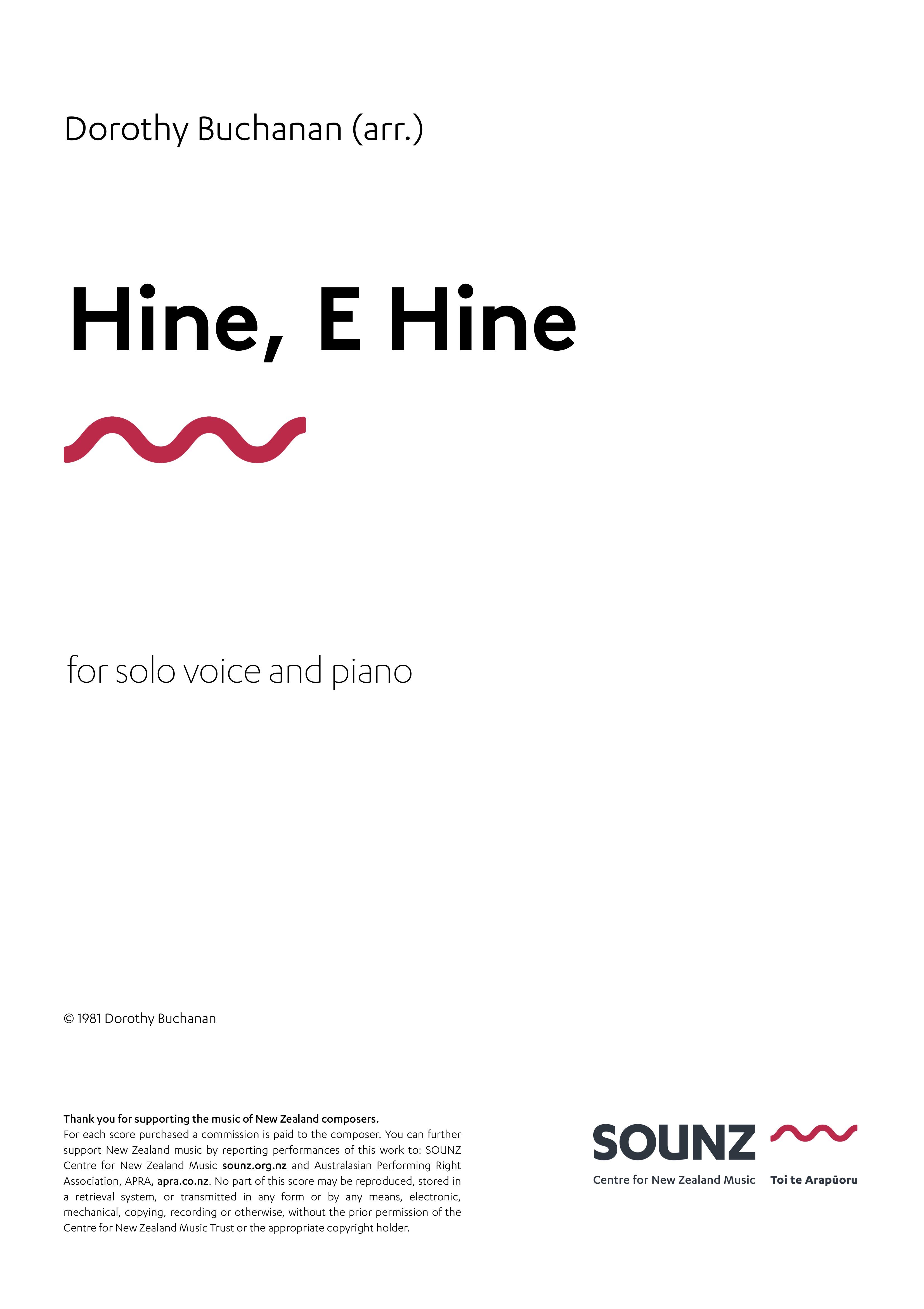 Dorothy Buchanan (arr.): Hine, e Hine (solo voice) - hardcopy SCORE
